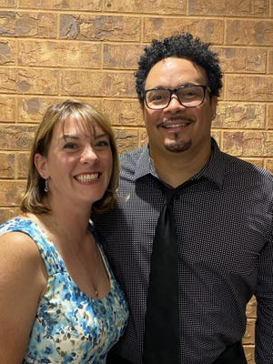"""A Caring Pregnancy Center Tamra Axworthy poses with Ryan Bomberger, the author of """"Not Equal: Civil Rights Gone Wrong."""""""