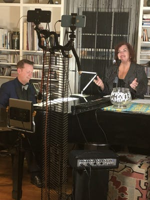 """Mary Callanan, a Brighton native who lives in Weymouth now, and Brian Patton during one of their online """"Tipsy Tuesdays"""" shows at Patton's home in West Roxbury."""
