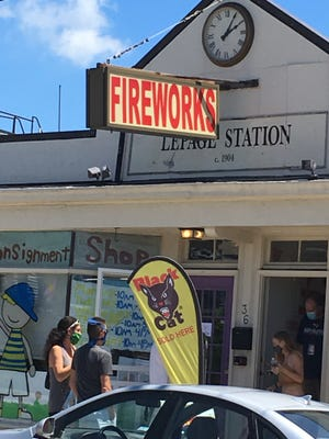 Business is hopping at the Firework Connection on Main Road in Tiverton Thursday, July 2, 2020.