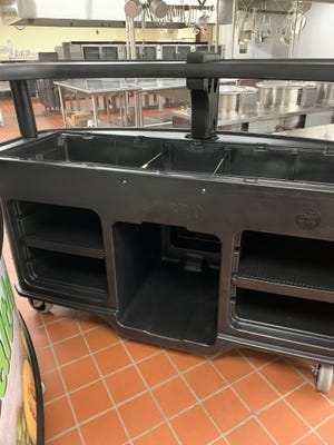 The Braintree school district received $42,000 from the state to purchase carts used to distribute meals to students in their classes to avoid lines in the cafeteria.