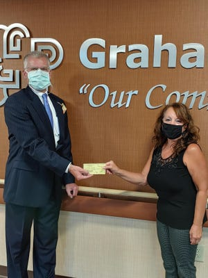 Graham Hospital President and CEO, Robert Senneff, is pictured receiving a check from Graham Hospital Service League President  Kathy Edwards. The check represents proceeds raised during FY20.