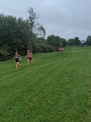 Pekin's Lily Wagemann is on the heels of Washington's Jadyn Jacobs in a girls cross country race Saturday at Alpha Park. Jacobs and Wagemann finished first and second, respectively.