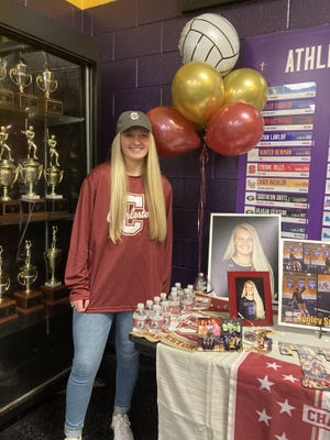 Tynley Smeltzer of Calvary Day signed to play volleyball at the College of Charleston on Thursday.