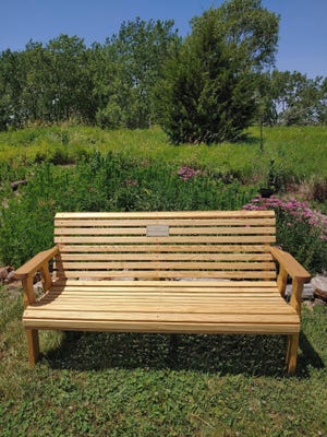 This is one of the five new garden benches Camp Big Sky purchased after receiving a grant from the Morton Community Foundation. This bench is located in their butterfly garden.