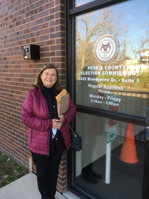 Gale Thetford stands outside the Peoria County Election Commission office on Monday after she filed paperwork to be put on the ballot. She's seeking the 3rd District seat on the Peoria City Council.