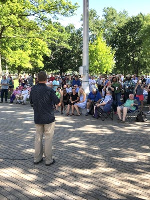 The Rev. Jim Congdon, pastor of Topeka Bible Church, addresses the crowd Sunday evening at the Capitol for a gathering of lament. Intended to promote healing and unity, the gathering was organized in response to the racially charged death of George Floyd on May 25 in Minneapolis, Minn.