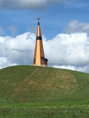 An antique steeple from the turn of the last century sits atop a hill just off K-4 highway, near Valley Falls. The steeple was moved there by a family who had an interest in preserving the structure and putting it on display.