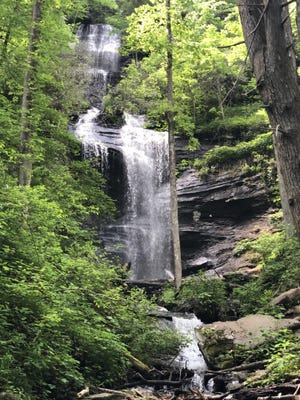 One of the Twin Falls cascades in the Brevard area of Pisgah National Forest is shown Sunday. Twin Falls can be accessed via trails off Avery Creek Road, which was recently reopened by the U.S. Forest Service.