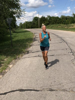 Hutchinson's Val Dryder ran around Hutchinson over a span of 42 days to simulate running from St. Louis to the Kansas-Colorado boarder.