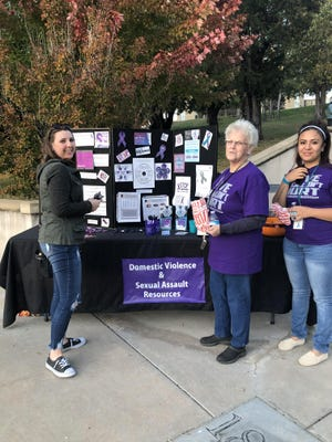 Volunteers gather at a domestic violence/sexual assault awareness event at Southwestern College last year. A similar event cannot be held this year due to COVID-19. October is Domestic Violence/Sexual Assault Awareness Month.