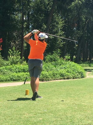 Jacob Fripp hits off the No. 12 tee during the second round of the Savannah Junior City Amateur on Tuesday at Bacon Park.