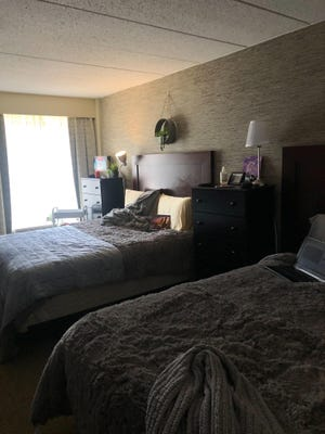 A look at Bailey Hedges' hotel-room-turned-dorm-room at the Wyndham University Center.