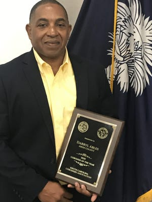 Darryl Ables with his Coroner of the Year award.
