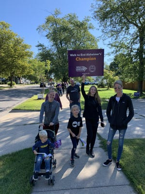 Team Ebels participates in the Walk to End Alzheimer's in Holland on Saturday, Sept. 19. Because of the COVID-19 pandemic, participants didn't gather at Kollen Park as they have in years past, but instead walked in their neighborhoods and shared pictures on social media.