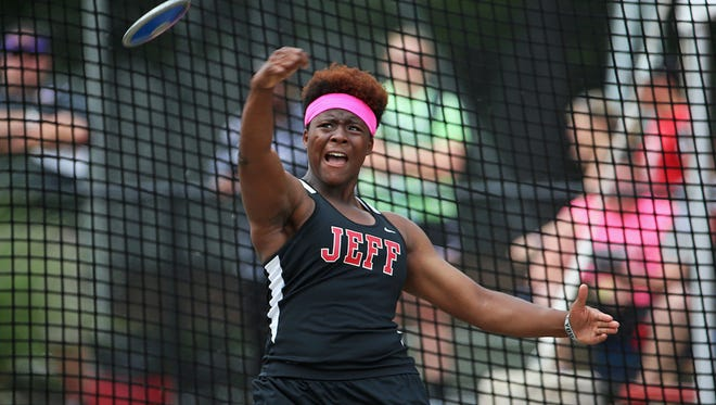 Lafayette Jefferson's Essence Henderson places first in discus at 151 feet, 1 inch, during the IHSAA 43rd annual girls track and field state finals, Robert C. Haugh Track and Field Complex at Indiana University, Bloomington, Ind., Friday, June 3, 2016.
