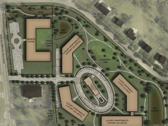 This aerial rendering shows how the apartment buildings