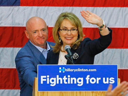 Former U.S. Rep. Gabrielle Giffords and husband Mark