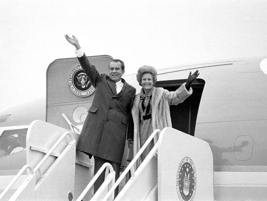 President Richard Nixon and first lady Pat Nixon board