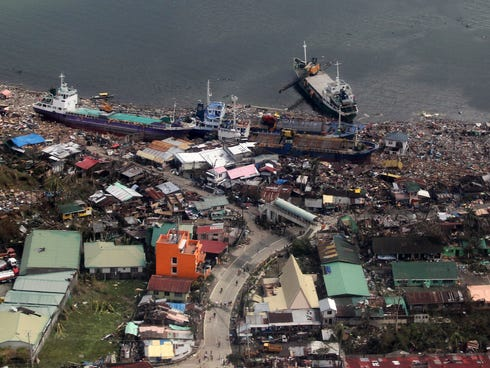 An aerial view of buildings destroyed in the aftermath of Typhoon Haiyan on Sunday over the Leyte province, Philippines.