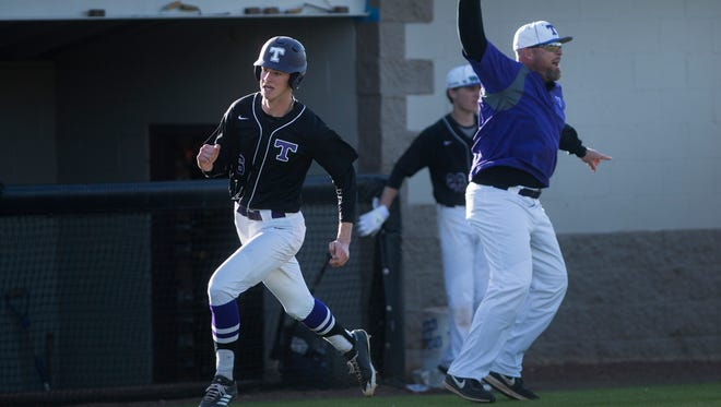 TCA's Lane Lamberth sprints home Monday, April 9, 2018, during TCA's 5-4 victory against Peabody at TCA in Jackson.