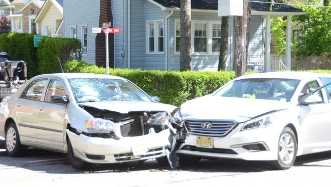 The aftermath of a car crash on Pompton Avenue in Verona on Monday, May 15, 2017.