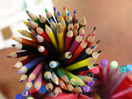 Coloring pencils and pens.