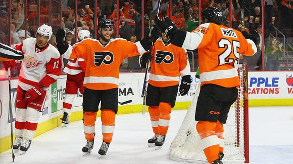 Shayne Gostisbehere scored his 16th goal of the season Wednesday night, the winner in a 4-3 victory over Detroit.