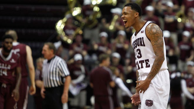 Missouri State junior Dorrian Williams gets fired up during the second half of the Bears' game against Arkansas-Little Rock at JQH Arena on Dec. 4.