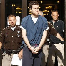 Accused Purdue University shooter Cody Cousins, center, pleaded guilty to murder in Tippecanoe County Superior Court 2 Thursday.