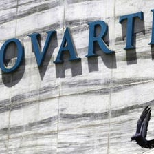 FILE - In this April 1, 2013 file photo, a dove flies near the logo of Novartis India Limited at their head office in Mumbai, India.