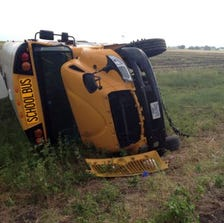 At least 12 children were reported injured in a rollover bus accident involving a Waxahachie ISD bus.