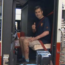 SEPT. 19, 2014: Jeff Patterson, a Dallas firefighter, was released from the hospital after five months.