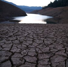 Dry cracked earth is visible on the banks of Northern California's Shasta Lake as the state's severe drought continues.