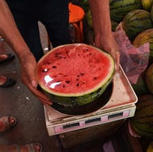 A watermelon at an outdoor market in Beijing (file photo)