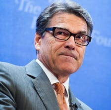 """AUGUST 21: Republican Gov. Rick Perry of Texas, delivers the keynote address at a Heritage Foundation event titled """"The Border Crisis and New Politics of Immigration,"""" August 21, 2014."""