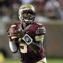 Florida State quarterback Jameis Winston (5) may be punished for an obscenity he reportedly yelled Tuesday on campus. (Photo: John David Mercer, USA TODAY Sports)