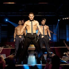 """Film image released by Warner Bros. shows, from left, Adam Rodriguez, Kevin Nash, Channing Tatum, and Matt Bomer in a scene from """"Magic Mike."""""""