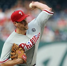 Phillies starting pitcher Cliff Lee throws during the second inning against the Nationals at Nationals Park.