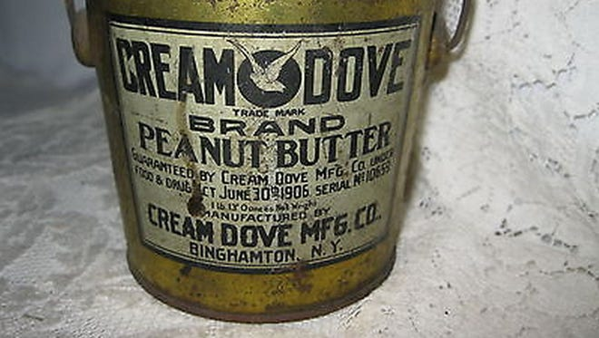 One of Cream Dove's tins for holding peanut butter.