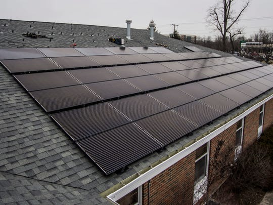 Solar panels line the roof of First Friends Meeting, 2010 Chester Blvd., in Richmond.