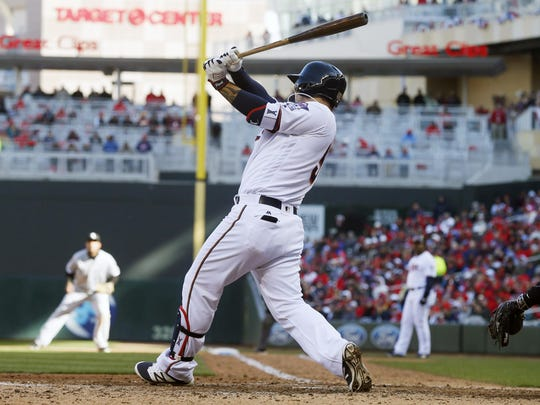 The Minnesota Twins' Byung Ho Park swings the bat on April 11 against the Chicago White Sox in Minneapolis.