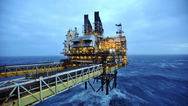 A file picture taken on Feb. 24, 2014, shows a section of the BP ETAP (Eastern Trough Area Project) oil platform in the North Sea, around 100 miles east of Aberdeen, Scotland.