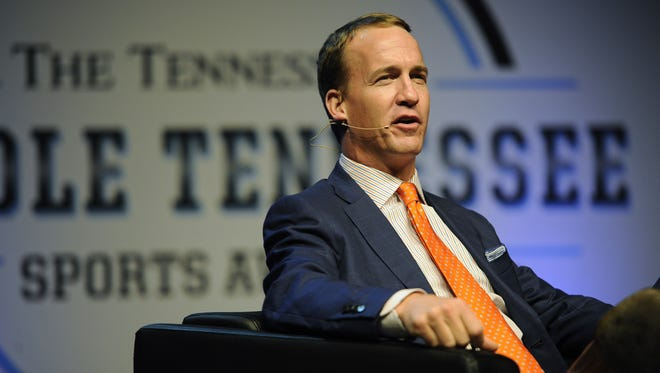 Former Colts and Vols quarterback Peyton Manning sits down for a question-and-answer session during the banquet. Former NFL quarter back Peyton Manning sits down for a Q&A during the Middle Tennessee Sports Awards at the Music City Center Thursday May 26, 2016, in Nashville, Tenn.