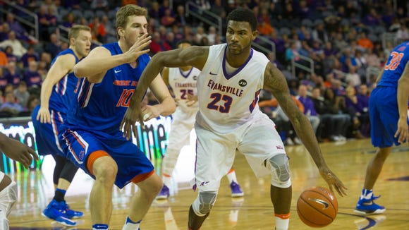 Evansville's Willie Wiley (23) drives the ball around Boise State's Robin Jorch (10) in the first half at the Ford Center Saturday afternoon.