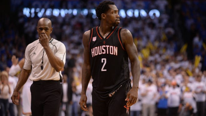 Houston Rockets guard Patrick Beverley (2) reacts after fouling out in action against the Oklahoma City Thunder during the fourth quarter in game three of the first round of the 2017 NBA Playoffs at Chesapeake Energy Arena.