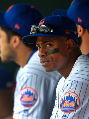 Jul 16, 2017; New York City, NY, USA; New York Mets center fielder Curtis Granderson (3) looks on from the dugout prior to the game against Colorado Rockies at Citi Field. Mandatory Credit: Noah K. Murray-USA TODAY Sports