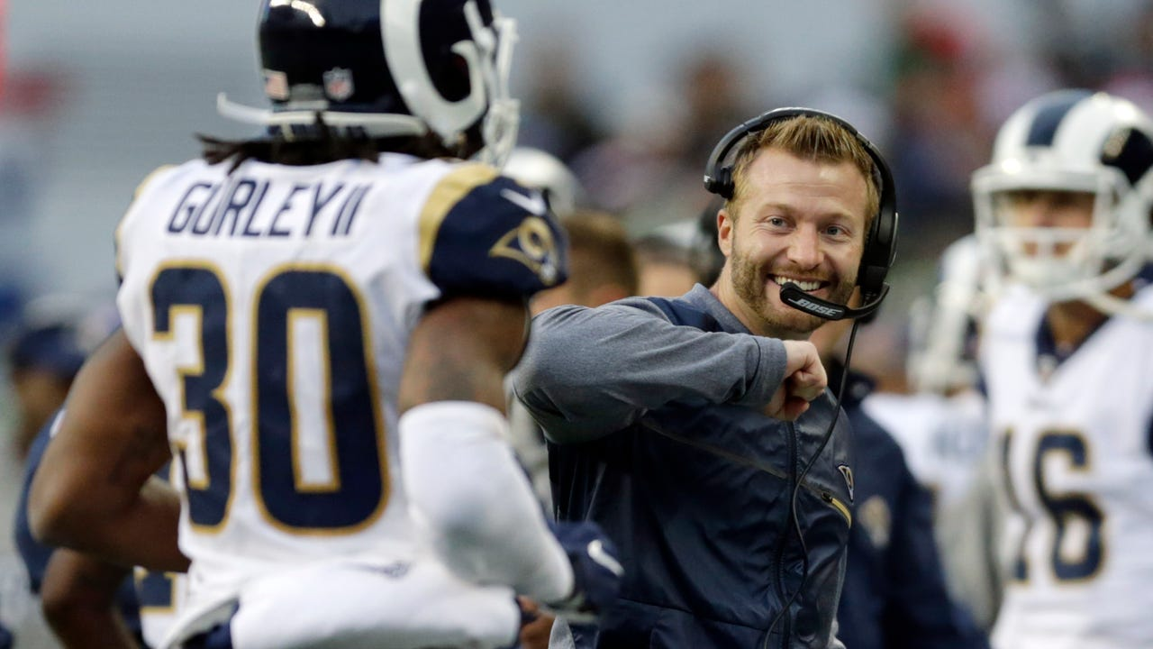 """Rams head coach Sean McVay says NFL MVP-candidate Todd Gurley """"sure is valuable to us."""" Video by Joe Curley."""