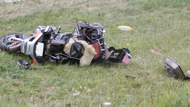 A Motorcyclist was injured in a crash that shut down an intersection on Monday afternoon.