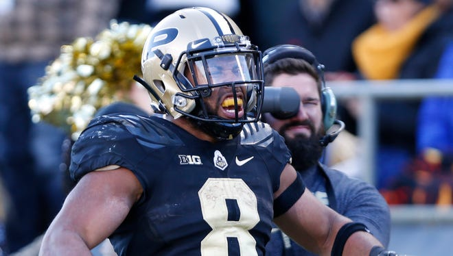 Markell Jones of Purdue lets out a scream after a long gain in the second half against Indiana Saturday, November 25, 2017, at Ross-Ade Stadium. The Boilermakers defeated rival Indiana 31-24 to reclaim the Old Oaken Bucket.