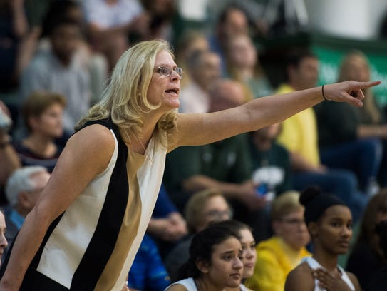 Webb coach Shelley Collier yells to players on the